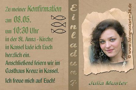 Einladungskarte zur Konfirmation