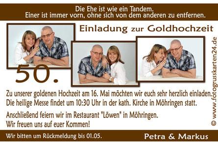 Einladung Goldhochzeit mit Foto Einladungskarten