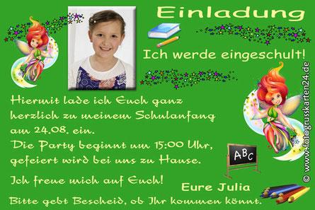 Einladungskarten zur Einschulung mit Fee und Elfen Einladungen Schuleinführung