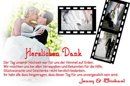 Danksagungskarten zur Hochzeit Dankeskarten Trauung