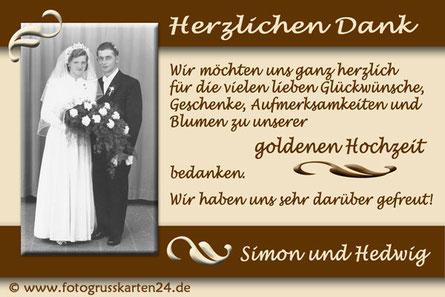 goldene Hochzeit Dankeskarten mit Foto Danksagungskarten zur Goldhochzeit