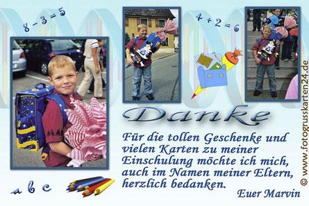 Dankeskarten zur Einschulung mit Fotos
