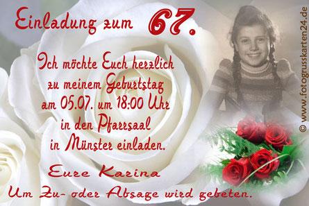 Einladungskarten Geburtstag mit Rosen Einladungen