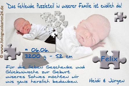Babykarte blau Puzzleteil zur Geburt