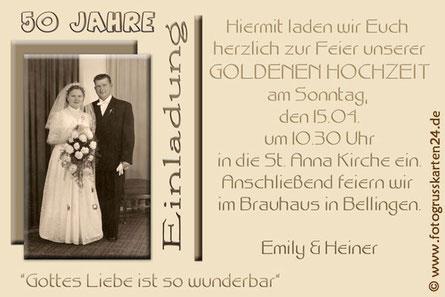 goldene Hochzeit Einladungskarten