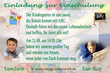 Einladungskarten zur Einschulung für Zwillinge Schulanfang