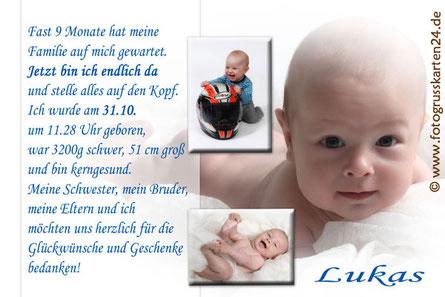 Dankeskarten zur Geburt blau