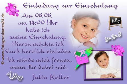 Einladungskarte zur Einschulung mit Foto lila für Mädchen