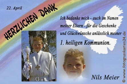 1. heilige Kommunion Danksagungskarten Erstkommunion Dankeskarten