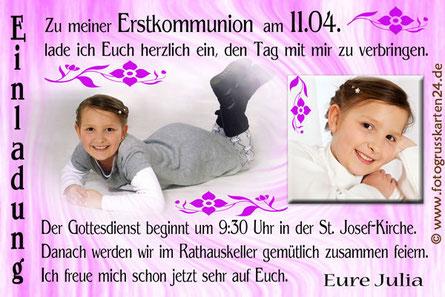 Erstkommunionseinladung mit Foto lila