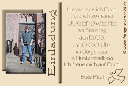 Jugendweihe Einladung Karten mit Foto