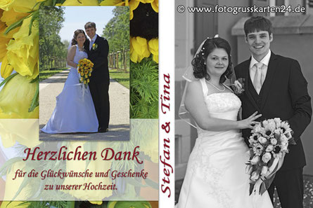 Danksagungskarte zur Hochzeit Hochzeitdankeskarten