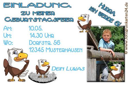 Einladungskarte Kindergeburtstag Adler
