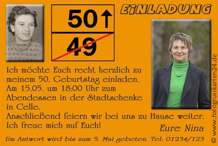 Einladungen 50. Geburtstag mit Foto Einladungskarten