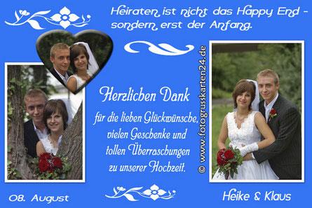 Danksagungskarten in blau zur Hochzeit Dankeskarten