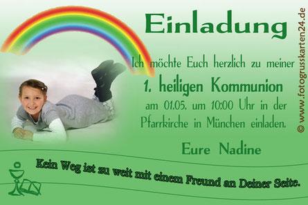 Kommunion Einladungskarten mit Foto Regenbogen