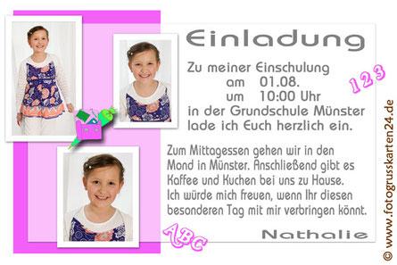 Einladungen zur Einschulung mit Foto pink