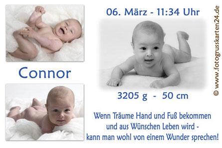 Geburtskarte blau Jungen Babykarte