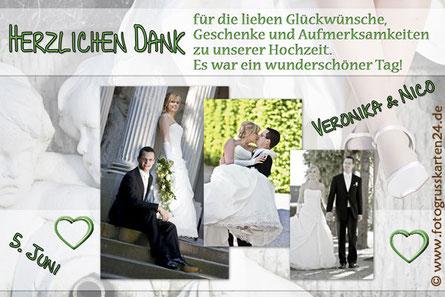 Dankeskarte Hochzeit Danksagungskarte