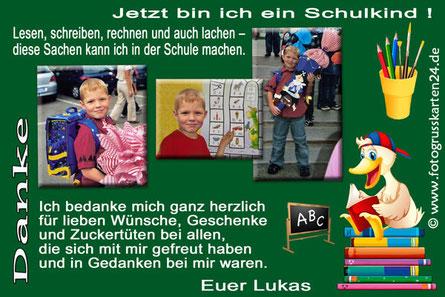 Dankeskarten Einschulung mit Foto