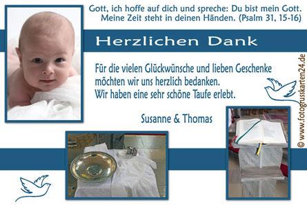 Dankeskarte zur Taufe blau für Jungen Danksagungskarten