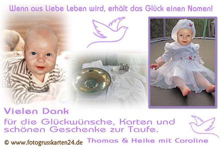 Taufe Dankeskarten mit Foto lila