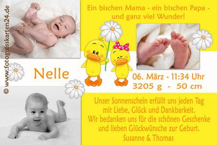 süsse Danksagungskarten zur Geburt Mädchen gelb
