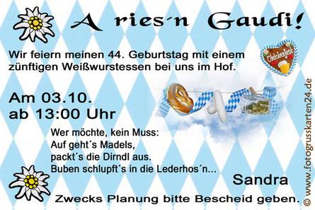 Einladungskarten zum Geburtstag bayrisch