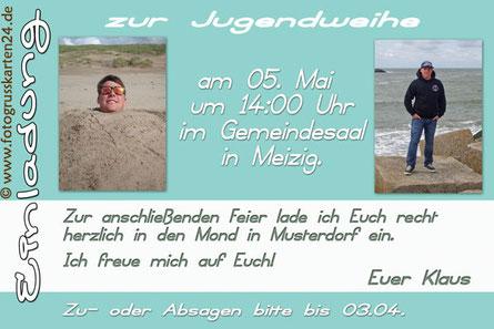 Jugendweihe Einladung mit Foto