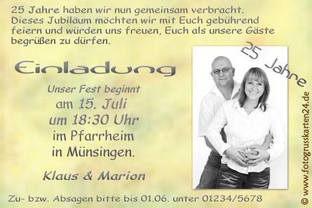 Einladung Silberhochzeit mit Foto 25 Jahre verheiratet