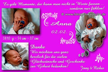 pinke Babykarte Dankeskarte zur Geburt für Mädchen