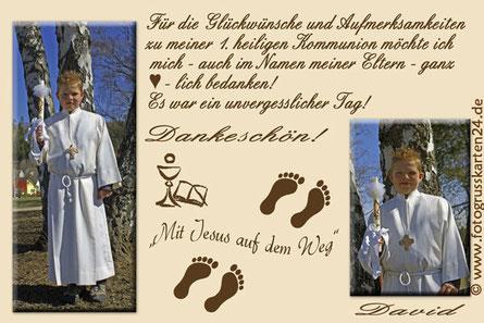 Dankeskarte Kommunion Mit Jesus auf dem Weg Danksagungen Erstkommunion