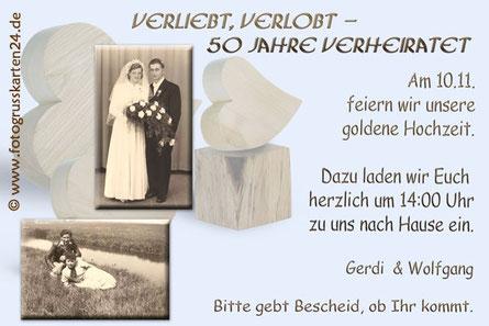 50 Jahre verheiratet Einladungskarten zur goldenen Hochzeit