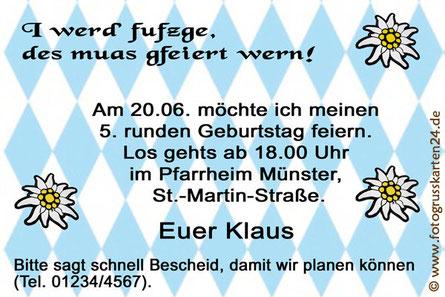 Einladungskarten Motto Bayrisch Einladungen Geburtstag
