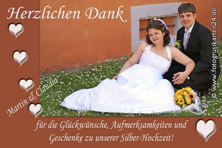 Silber-Hochzeit Dankeskarten Silberhochzeit Danksagung