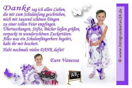 Dankeskarten zur Einschulung Schulanfang lila