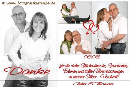 Danksagungskarte Silberhochzeit Dankekarte silberne Hochzeit 25 Jahre verheiratet