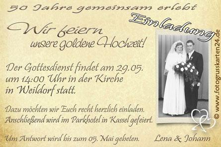 Einladungskarten zur goldenen Hochzeit Jubiläum