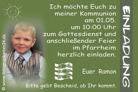 Erstkommunion Einladungen mit Foto