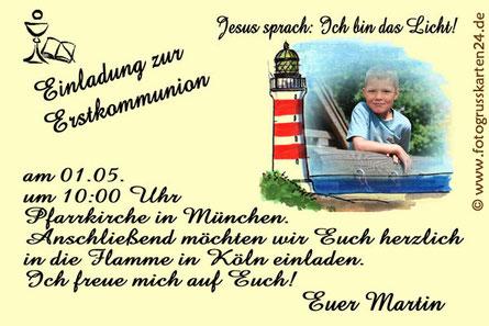 Einladung Kommunion Jesus sprach Ich bin das Licht Leuchtturm