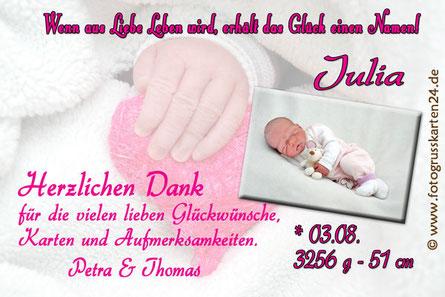 Babykarte pink Geburtdanksagung