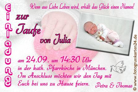 Taufeinladungskarten pink Mädchen Einladungen zur Taufe