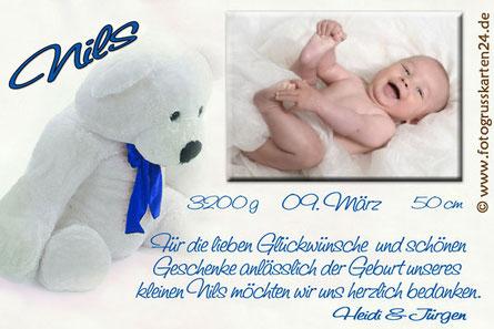 Danksagungskarten zur Geburt mit Foto