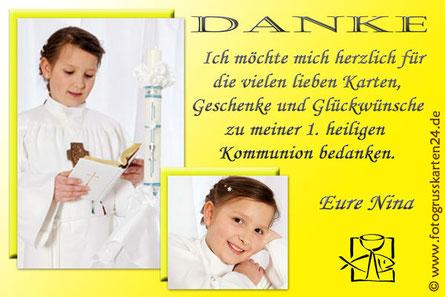 gelbe Dankeskarte zur Kommunion Danksagung Erstkommunion
