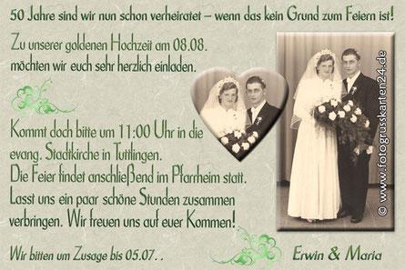 Einladungen zur Goldhochzeit 50 Jahre verheiratet