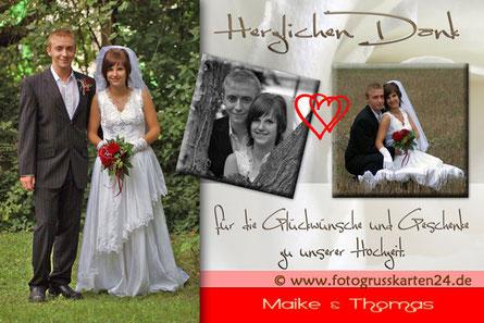 Dankeskarte mit Foto zur Hochzeit
