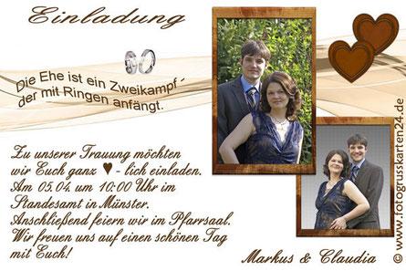 Hochzeit Einladungskarten mit Foto