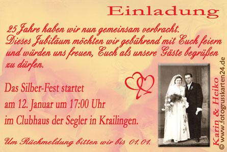 Silberfest  Einladungskarten mit Foto Silberhochzeit