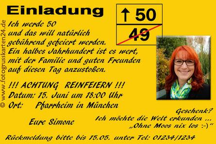 Einladungskarten 50. Geburtstag Einladungen