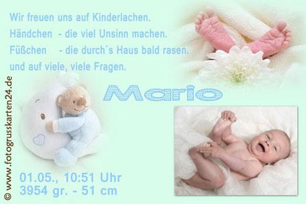 Geburtsanzeige Baby Jungen
